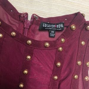 Fashion Nova Dresses - Fashion Nova Burgundy Bandage Stud Dress